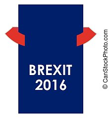 abstract brexit 2016 banner with red ribbons