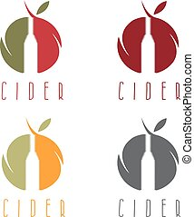 vector set  illustration of cider with apple and bottle