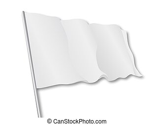 Isolated white flag, vector art illustration symbol truce.