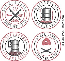 vector illustration grunge set of BBQ , steakhouse and...