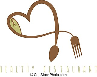 healthy restaurant concept with heart spoon and fork