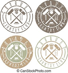 vintage grunge labels set of croquet country club