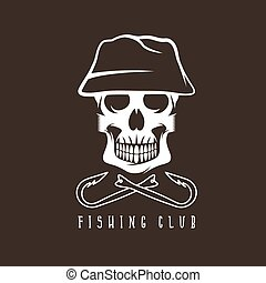 fishing club emblem with skull in panama hat