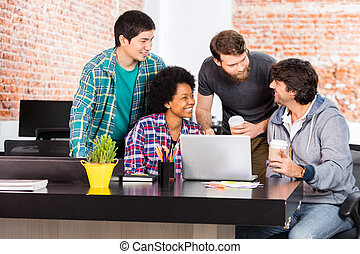 People office diverse mix race group businesspeople laughing...