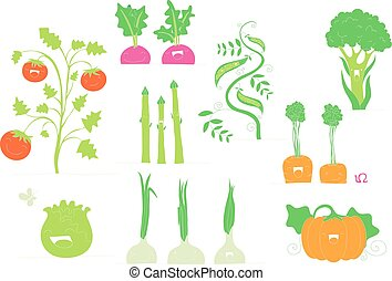 Collection of smiling vegetables