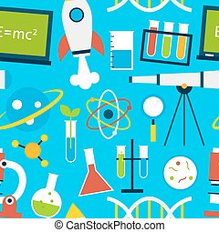 Blue Seamless Pattern Science Education Flat Style Vector...