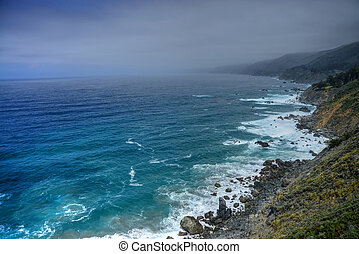 Coastal Fog Big Sur California - Coastal morning fog along...