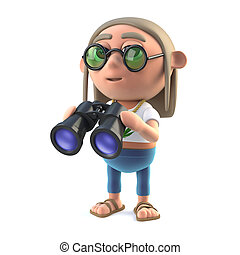 3d Hippy stoner has a pair of binoculars - 3d render of a...