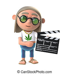 3d Hippy dope smoker is making a movie - 3d render of a...