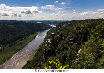 Elbe river view from castle Koenigstein.Saxon...