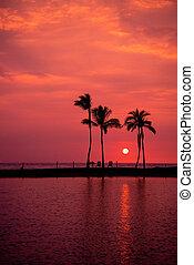 Hawaiian Sunset on Big Island Anaehoomalu Bay Copy space