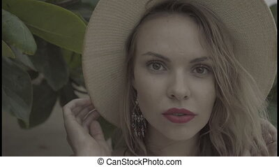 Pretty natural woman on summer day. - Closeup portrait of...