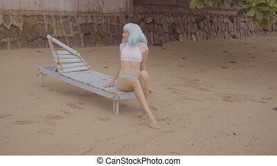 Sexy woman in blue wig and bikini. - Video of sexy beautiful...