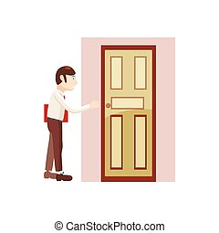 Man with a folder at the door icon, cartoon style