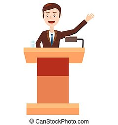 Speaker makes a report icon, cartoon style - Speaker makes a...