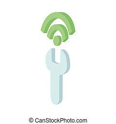 Configuring Wi-Fi icon, cartoon style - Configuring Wi-Fi...