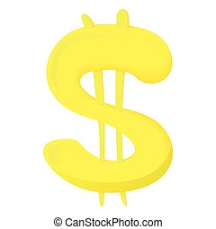 Sign of American dollar icon, cartoon style - Sign of...