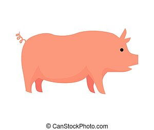 Pig Flat Design Vector Illustration on White - Pig...