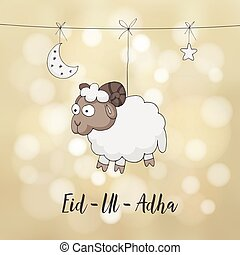 Eid-ul-adha greeting card. Decoration with hand drawn sheep,...
