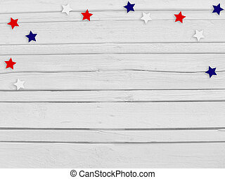 Confetti stars on wooden background 4th July, Independence...