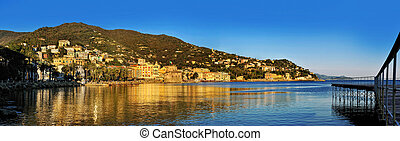 Panoramic view of Rapallo Resort on the Italian Riviera,...