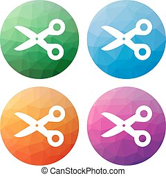 Set  of 4 isolated modern low polygonal buttons - icons - for scissors - cut, cutout