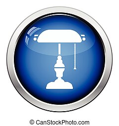 Writers lamp icon Glossy button design Vector illustration...