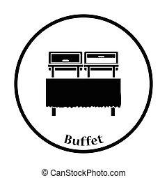 Chafing dish icon. Thin circle design. Vector illustration.