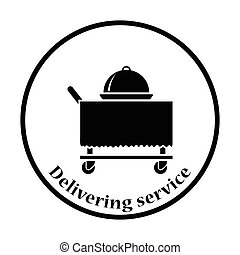 Restaurant cloche on delivering cart icon Thin circle design...