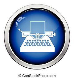 Typewriter icon Glossy button design Vector illustration