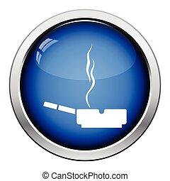 Cigarette in an ashtray icon. Glossy button design. Vector...