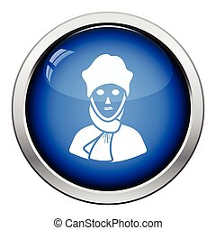 Poet icon. Glossy button design. Vector illustration.