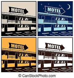 motel - Stylized vector illustration of the motel at...