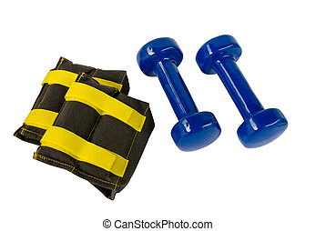 Blue fitness dumbbells and foot weights with clipping path
