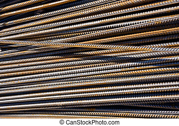 Rusty metal background - Rusty steel bars building armature...
