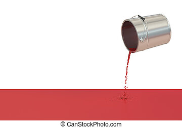 Red spilled paint concept, 3D rendering