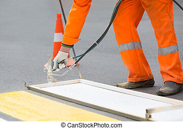 Zebra crossing painting works