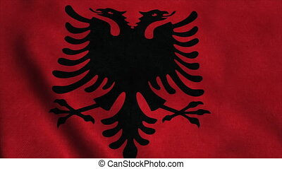 Realistic Ultra-HD flag of the Albania waving in the wind. Seamless loop with highly detailed fabric texture