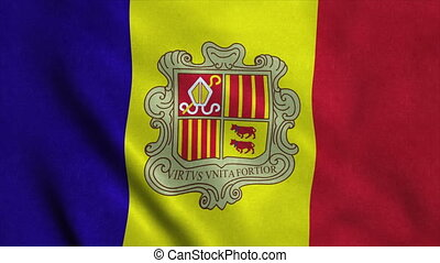 Realistic Ultra-HD flag of the Andorra waving in the wind....