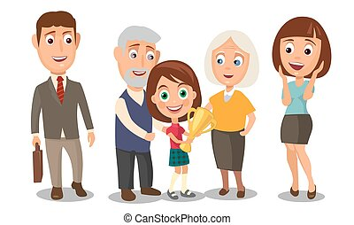 Happy family. Surprised woman face and businessman holding a briefcase