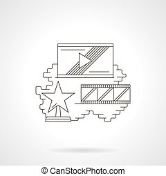Movie rating detailed line vector icon - Movie rating...