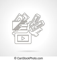 Buying cinema tickets detailed line vector icon
