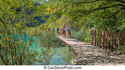 Wooden path in National Park in Plitvice in Croatia