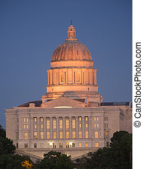 Jefferson City Missouri Capital Building Downtown Sunset...