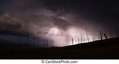 Over Tower Creek Thunderstorm Lightning Strikes Yellowstone...