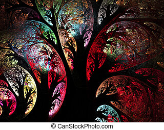 Abstract fractal trees computer-generated image
