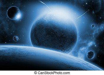 Space background with fictional planets