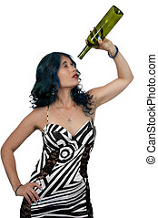 Woman with empty wine bottle - Beautiful woman holding an...