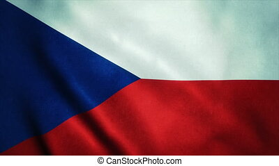 Realistic Ultra-HD flag of the Czech Republic waving in the wind. Seamless loop with highly detailed fabric texture