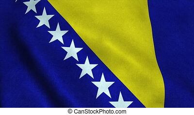 Realistic Ultra-HD flag of the Bosnia and Herzegovina waving in the wind. Seamless loop with highly detailed fabric texture